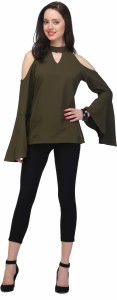 JHA FASHION Casual Bell Sleeve Solid Women's Green Top