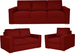 FabHomeDecor Apollo Fabric 3 2 1 Red Sofa Set Best Price In India