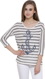 MansiCollections Casual Full Sleeve Striped Women White Top