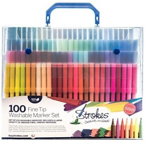Strokes Art Supplies 100 Fine Tip Kids Coloring Markers - Washable - Smudge  Free - Vibrant Colors - Carry Case