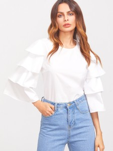 Dracht Casual Bell Sleeve Solid Women White Top