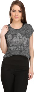 Xtreme Casual Short Sleeve Embellished Women's Grey, Black Top