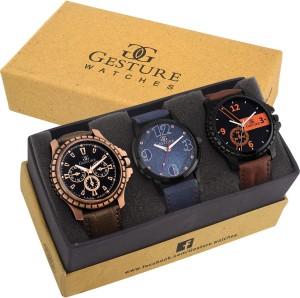 Gesture 7200-Triple Combination Elegant Analog Watch  - For Men