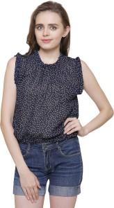 Arovi Casual Sleeveless Printed Women Dark Blue, White Top