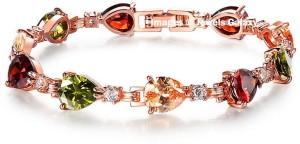 Jewels Galaxy Alloy Crystal 24K Rose Gold Charm Bracelet