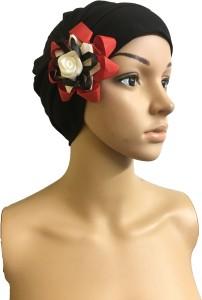 GIRIJA Self Design BLACK CHEMO CAPS REMOVABLE BOW HEADCOVER FLOWER SLEEP CAPS LADIES CANCER HEADWEAR Cap
