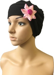 92e13d12a15 GIRIJA Self Design BLACK CHEMO CAPS REMOVABLE BOW HEADCOVER FLOWER SLEEP  CAPS WOMENS CANCER HEADWEAR Cap