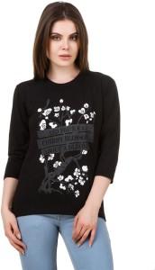 ALC Creations Printed Women Round Neck Black, Grey, White T-Shirt