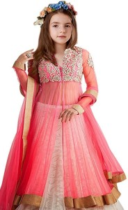7091feef384965 stylish villa Baby Girl's Lehenga Choli Ethnic Wear Embroidered Ghagra,  Choli, Dupatta SetPink, Pack of 1