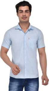Style Cafe Men Solid Casual Blue Shirt
