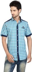 Club Martin Men Checkered Casual Blue Shirt