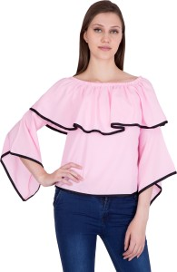 Khhalisi Party 3/4th Sleeve Solid Women's Pink Top
