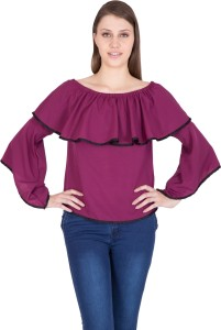Khhalisi Party 3/4th Sleeve Solid Women's Purple Top