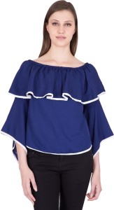 Khhalisi Party 3/4th Sleeve Solid Women's Dark Blue Top