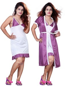 15fdb64f08 TRUNDZ Women Nighty with Robe Multicolor Best Price in India ...