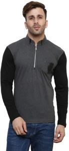 Leana Solid Men's Mandarin Collar Grey T-Shirt