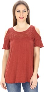 MansiCollections Casual Short Sleeve Embroidered Women's Maroon Top