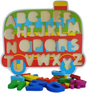 Trinkets & More - Wooden ABC Learning Blocks   Train Themed Holder    Beautifully Crafted Brightly Coloured Blocks   Educational Toys Kids 2+