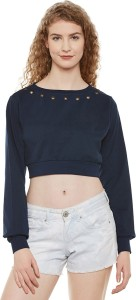 Miss Chase Casual Full Sleeve Solid Women's Dark Blue Top