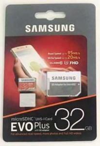 Samsung Evo+ 32 GB SD Card Class 10 95 MB/s  Memory Card