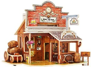 Robotime 3D Wooden Jigsaw Puzzle Dollhouse Miniatures Diy Wooden Craft Kits  Toy House For Children (American Bar)1 Pieces