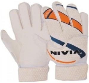 Nivia Simbolo Goalkeeping Gloves (L, White, Orange)