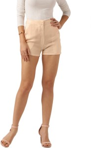 All About You Solid Women Orange Basic Shorts