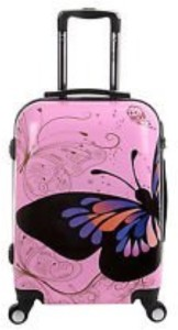 Tramp & Badger 360Â Rotating Wheels, Butterfly Printed Pattern Non-Breakable & Extra Light Weight Trolley Bag Expandable  Check-in Luggage - 24 inch