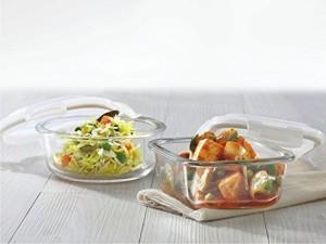 Borosil Klip & Store Glass Container Set of 2 Borosilicate Glass Bowl Set