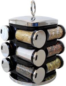 wcse 12-Jar Revolving Siver Black Spice Rack Masala Box  - 110 ml Plastic Spice Container