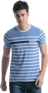 9500a63abb Monte Carlo Striped Men Round Neck Blue White T Shirt Best Price in ...