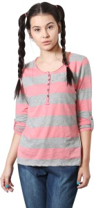 People Striped Women Round Neck Pink T-Shirt