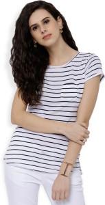 Tokyo Talkies Casual Half Sleeve Striped Women White, Black Top