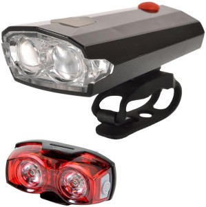 Dark Horse Bicycle Imported CE Standard USB Rechargeable 4 Mode LED Front Light & Horn (2 in 1 feature) & 1 Watt 3 Mode Twin Eye Rear Light Battery Combo/ Set LED Front Rear Light Combo