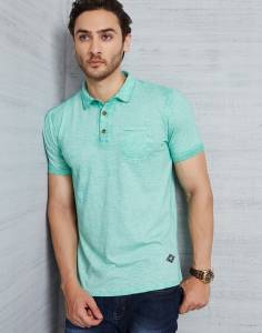 Metronaut Solid Men's Polo Neck Green T-Shirt