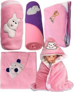 My NewBorn Cartoon Crib Crib Baby Blanket Pink