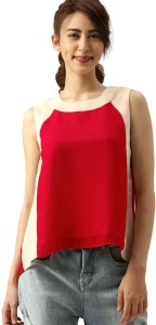 Dressberry Casual Sleeveless Color Blocked Women Red, White Top