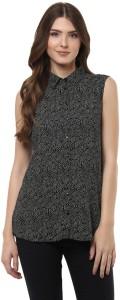 Izabel London by Pantaloons Casual Sleeveless Floral Print Women Black Top