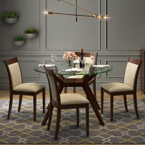 Urban Ladder Wesley Round Glass Top Glass 4 Seater Dining Tablefinish Color Dark Walnut