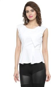N-Gal Formal Sleeveless Solid Women's White Top