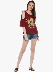 Famous by payal kapoor Casual 3/4th Sleeve Solid Women's Maroon Top