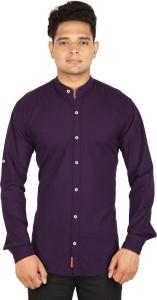 BASE 41 Men's Solid Casual Linen Purple Shirt