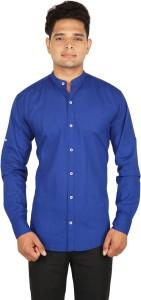 BASE 41 Men's Solid Casual Linen Blue Shirt