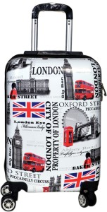 Tramp & Badger City of London Printed Pattern Non-Breakable & Extra Light Expandable  Cabin Luggage - 20 Inches