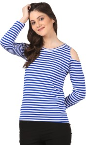 Fashion Expo Casual Full Sleeve Striped Women's Blue, White Top