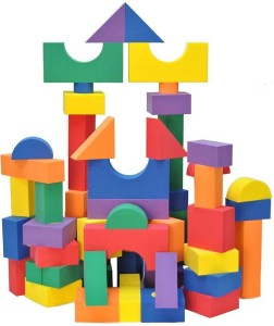 Montez 65 PCS 3D Colorful Learning Numbers and Alphabets Non-Toxic Eva Foam Building Soft Blocks Set Educational Toy
