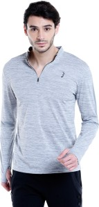 Campus Sutra Solid Men Mandarin Collar Grey T-Shirt