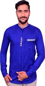 duenite Men's Solid Casual Light Blue Shirt