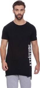 Attiitude Printed Men Round Neck Black T-Shirt