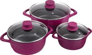Wonderchef Ceramide Set pink Pot 1.25 L, 2.25 L, 4 L